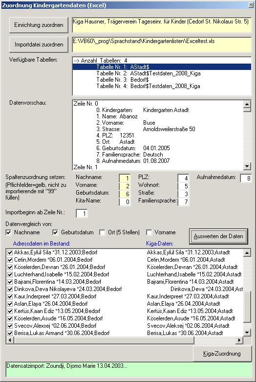 Kindergartenliste (Excel) importieren